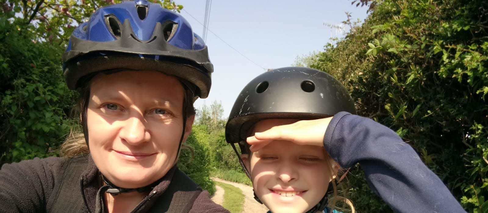 ruth challis and daughter on bike ride for 2.6 challenge
